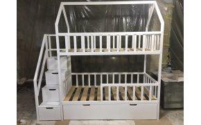 Кровать двухъярусная Молли со ступеньками и с ящиками ТМ MegaOpt