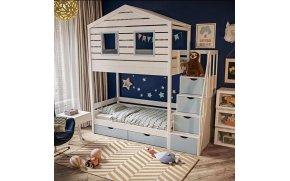 Кровать домик Сказка со ступеньками и ящиками ТМ MegaOpt
